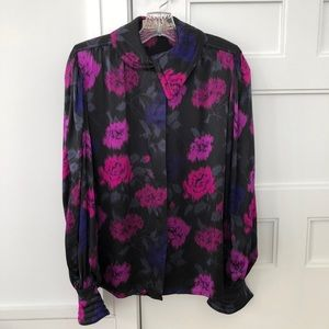 Vintage Escada Silk Black Floral Blouse